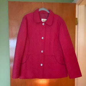 Talbots cranberry toggle coat